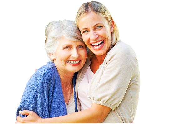 senior and woman hugging and smiling
